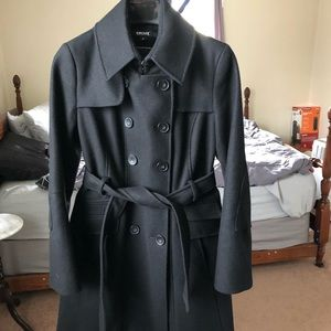 DKNY black wool belted trench coat